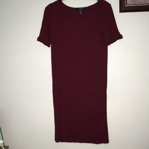forever 21 bodycon maroon burgundy sweater dress